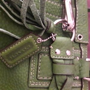 COACH Bags - COACH LEATHER BAG SAGE GREEN XLNT CONDITION